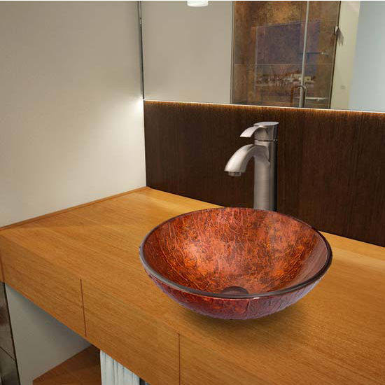 Vigo VIG-VGT345, Mahogany Moon Glass Vessel Sink and Otis Faucet Set in Brushed Nickel
