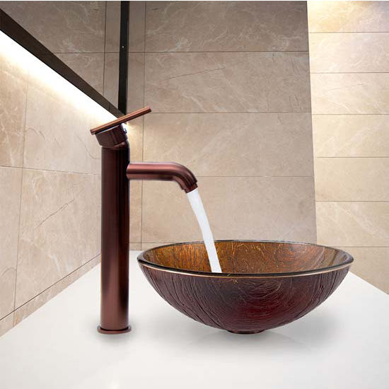 Unique Vigo Kenyan Twilight Glass Vessel Bathroom Sink And Milo Faucet Set In