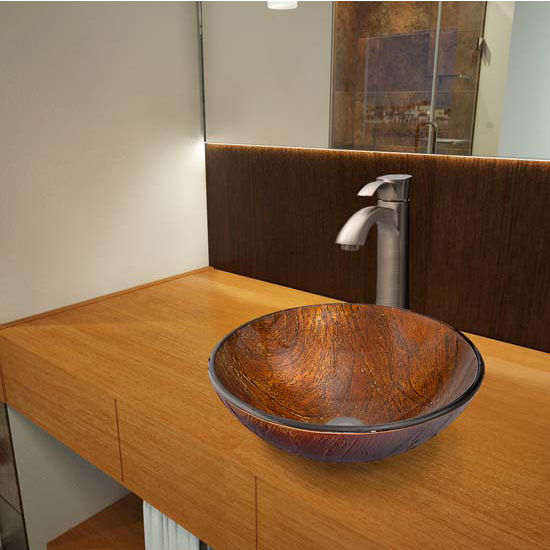 Vigo VIG-VGT348, Kenyan Twilight Glass Vessel Sink and Otis Faucet Set in Brushed Nickel