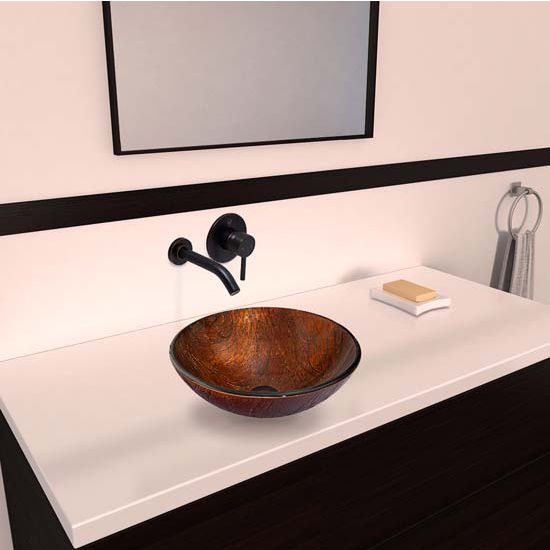 Vigo VIG-VGT349, Kenyan Twilight Glass Vessel Sink and Olus Wall Mount Faucet Set in Antique Rubbed Bronze