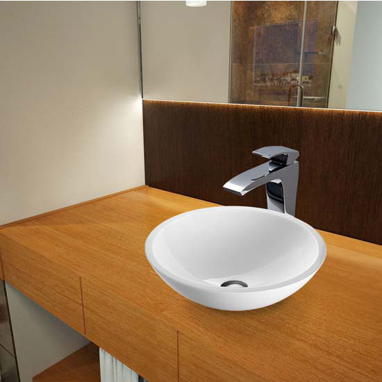 Vigo VIG-VGT352, Flat Edged White Phoenix Stone Glass Vessel Sink and Blackstonian Faucet Set in Chrome