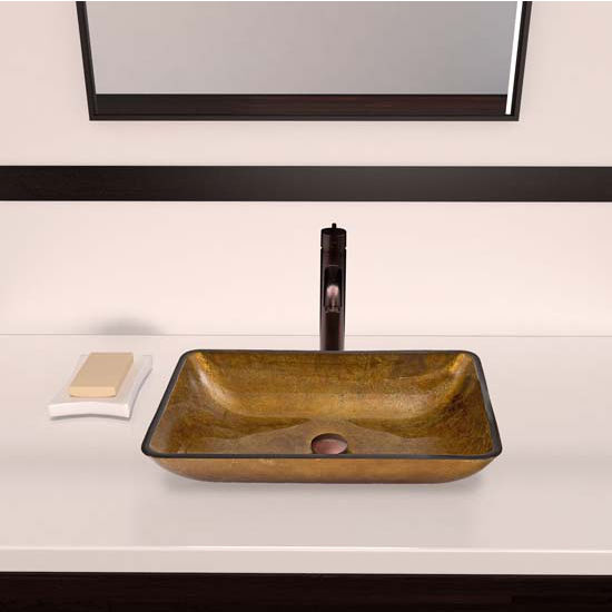 Vigo VIG-VGT357, Rectangular Copper Glass Vessel Sink and Seville Faucet Set in Oil Rubbed Bronze