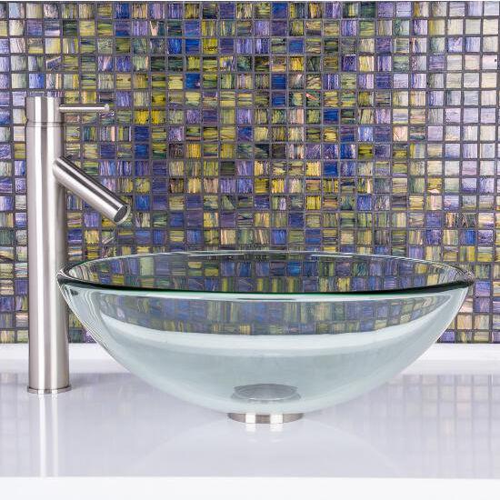 Crystalline Glass Vessel Sink Set Dior Vessel Faucet Set