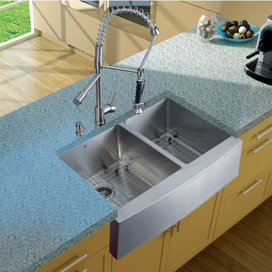 "Vigo Farmhouse Kitchen Sink with Curved Corners, 27""H Faucet, Two Grids, Two Strainers and Dispenser, Stainless Steel Finish"