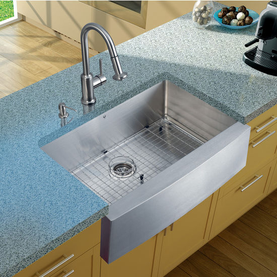 "Vigo Farmhouse Kitchen Sink, 16-1/2""H Faucet, Grid, Strainer and Dispenser, Stainless Steel Finish"