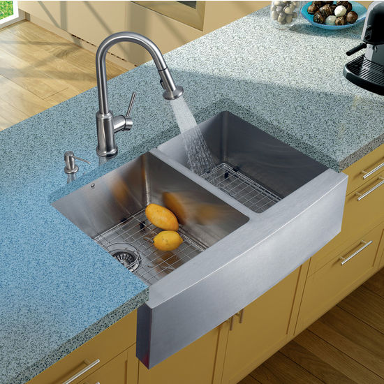 "Vigo Farmhouse Kitchen Sink, 16-1/2""H Faucet, Two Grids, Two Strainers and Dispenser, Stainless Steel Finish"