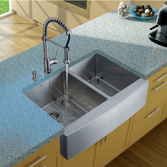 "Vigo Farmhouse Kitchen Sink, 18-3/4""H Faucet, Two Grids, Two Strainers and Dispenser, Stainless Steel Finish"