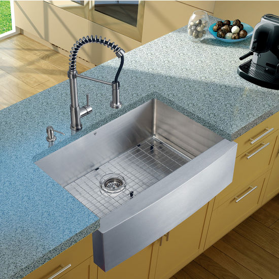 "Vigo Farmhouse Kitchen Sink, 18-3/4""H Faucet, Grid, Strainer and Dispenser, Stainless Steel Finish"