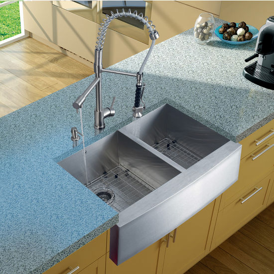 Vigo Farmhouse Kitchen Sink, Faucet, Two Grids, Two Strainers and Dispenser, Stainless Steel Finish