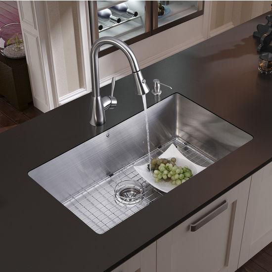 Vigo Undermount Kitchen Sink, Faucet, Grid, Strainer and Dispenser, Stainless Steel Finish