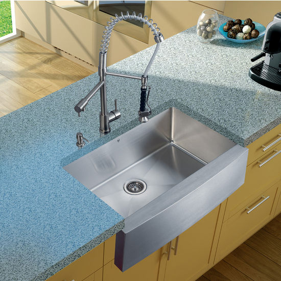 Vigo Farmhouse Kitchen Sink, Faucet, Strainer, and Dispenser, Stainless Steel Finish