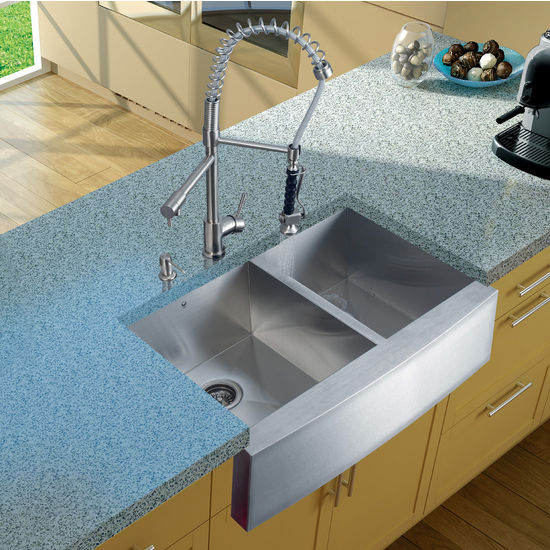"Vigo Farmhouse Kitchen Sink, 27""H Faucet, Two Strainers and Dispenser, Stainless Steel Finish"