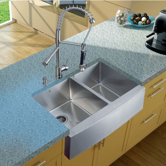 "Vigo Farmhouse Kitchen Sink with Curved Corners, 27""H Faucet, Two Strainers and Dispenser, Stainless Steel Finish"