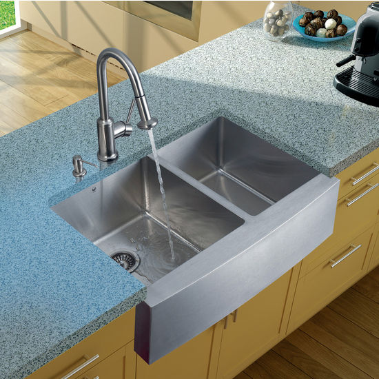 "Vigo Farmhouse Kitchen Sink, 16-1/2""H Faucet, Two Strainers and Dispenser, Stainless Steel Finish"
