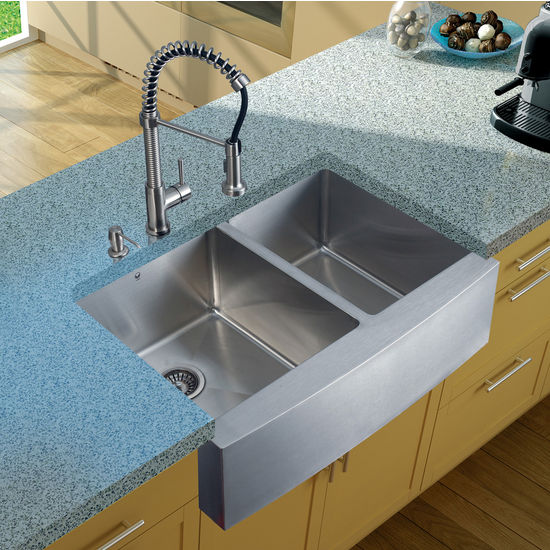 "Vigo Farmhouse Kitchen Sink, 18-3/4""H Faucet, Two Strainers and Dispenser, Stainless Steel Finish"