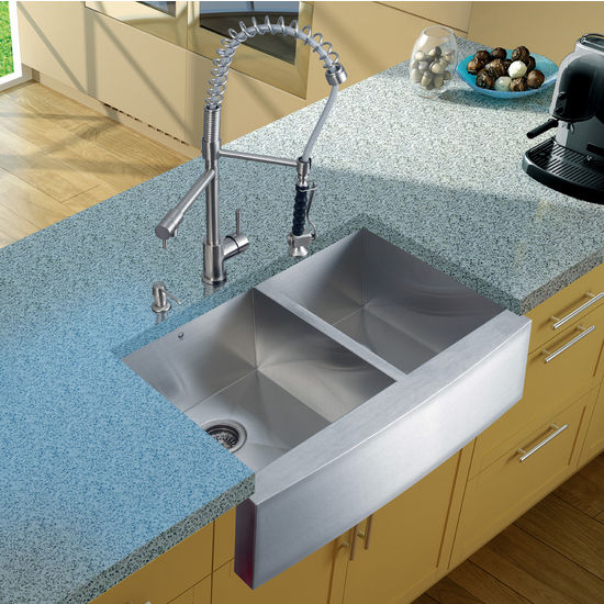 Vigo Farmhouse Kitchen Sink, Faucet, Two Strainers and Dispenser, Stainless Steel Finish