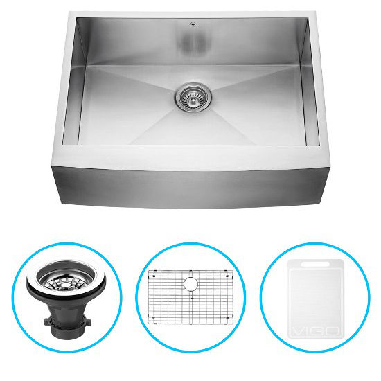 "Vigo 30"" Farmhouse Kitchen Sink, Grid and Strainer, Stainless Steel Finish"