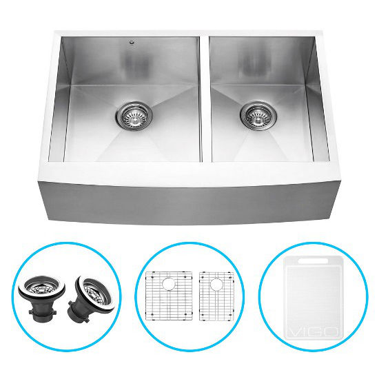 """Vigo 33"""" Farmhouse Kitchen Sink, Two Grids and Two Strainers, Stainless Steel Finish"""