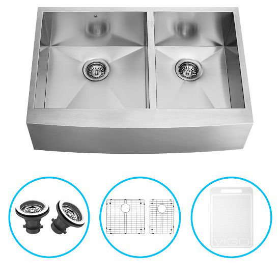 "Vigo 36"" Farmhouse Kitchen Sink, Two Grids and Two Strainers, Stainless Steel Finish"