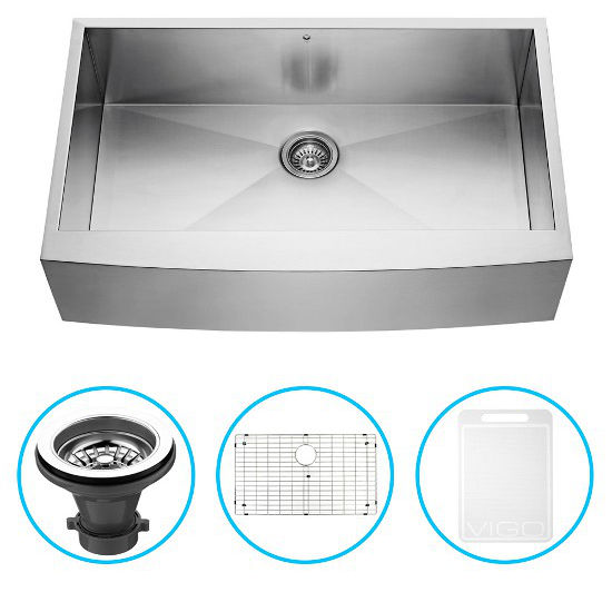 "Vigo 36"" Farmhouse Kitchen Sink, Grid and Strainer, Stainless Steel Finish"