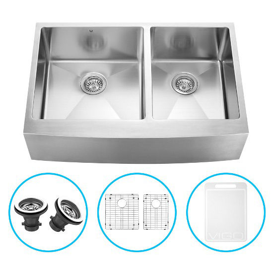 "Vigo 33"" Farmhouse Kitchen Sink with Curved Corners, Two Grids and Two Strainers, Stainless Steel Finish"