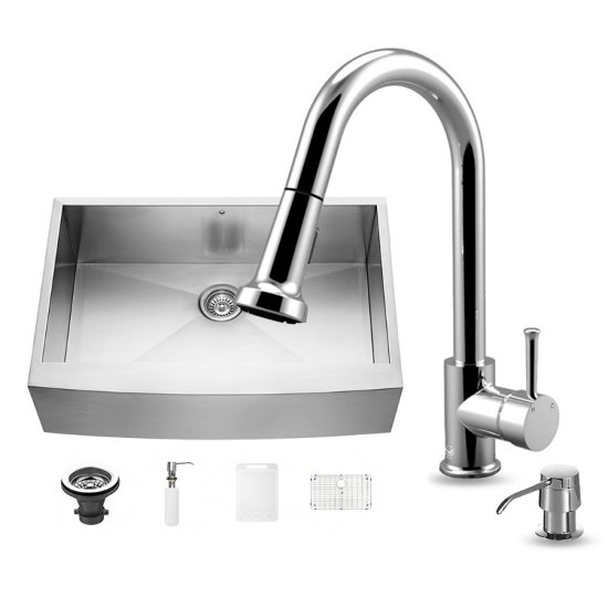 "Vigo All In One Camden Farmhouse Kitchen Sink Set: All-In-One 33"" Camden Stainless Steel Farmhouse Kitchen"