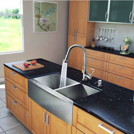 "Vigo All in One 33"" Farmhouse Stainless Steel Double Bowl Kitchen Sink and Chrome Faucet Set, VIG-VG15132"