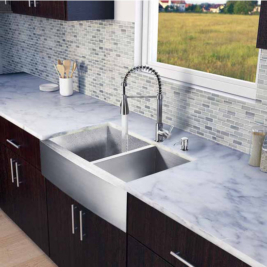 "Vigo All in One 33"" Farmhouse Stainless Steel Double Bowl Kitchen Sink and Faucet Set, VIG-VG15133"