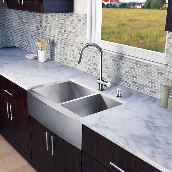"Vigo All in One 33"" Farmhouse Stainless Steel Double Bowl Kitchen Sink and Faucet Set, VIG-VG15135"