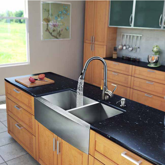 "Vigo All in One 33"" Farmhouse Stainless Steel Double Bowl Kitchen Sink and Faucet Set, VIG-VG15138"