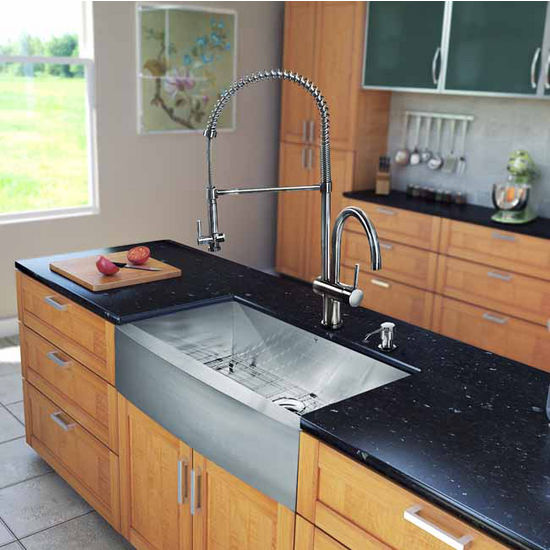 "Vigo All in One 36"" Farmhouse Stainless Steel Kitchen Sink and Faucet Set, VIG-VG15141"