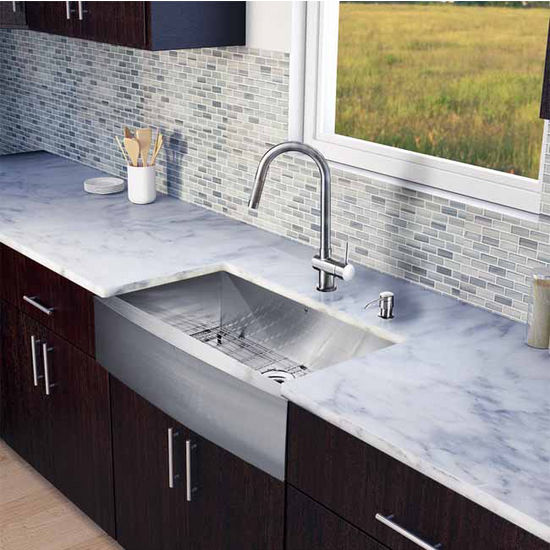 "Vigo All in One 36"" Farmhouse Stainless Steel Kitchen Sink and Faucet Set, VIG-VG15142"