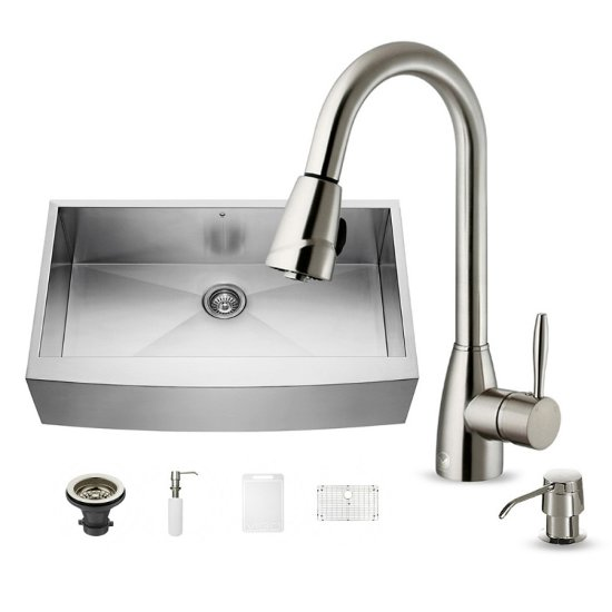 "Vigo All In One Camden Farmhouse Kitchen Sink Set: All-In-One 36"" Camden Stainless Steel Farmhouse Kitchen"