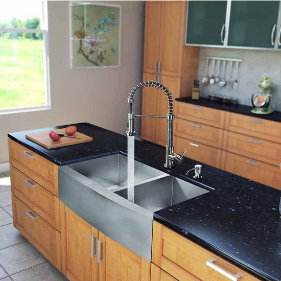 "Vigo All in One 36"" Farmhouse Stainless Steel Double Bowl Kitchen Sink and Faucet Set, VIG-VG15193"