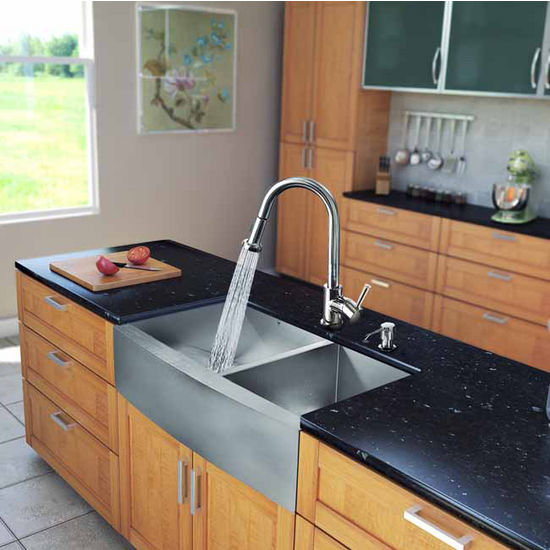 "Vigo All in One 36"" Farmhouse Stainless Steel Double Bowl Kitchen Sink and Chrome Faucet Set, VIG-VG15194"