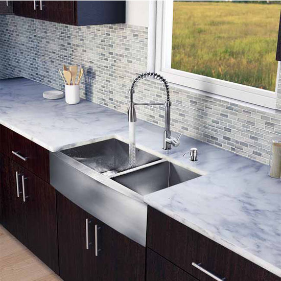 "Vigo All in One 36"" Farmhouse Stainless Steel Double Bowl Kitchen Sink and Faucet Set, VIG-VG15195"
