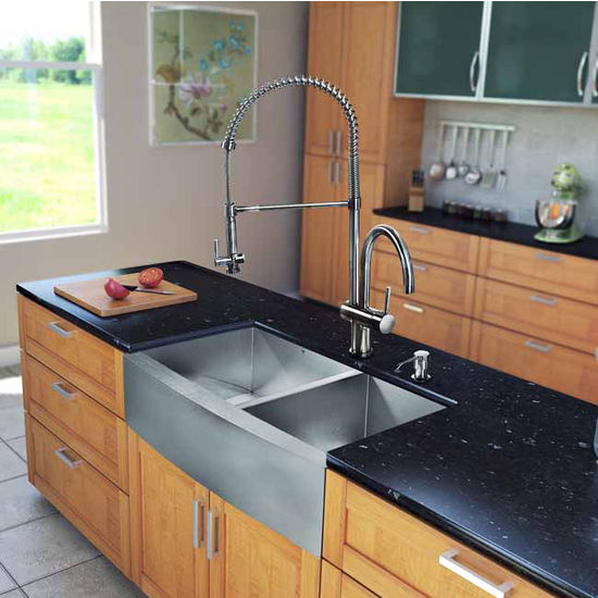 "Vigo All in One 36"" Farmhouse Stainless Steel Double Bowl Kitchen Sink and Faucet Set, VIG-VG15197"