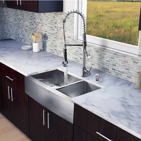 "Vigo All in One 36"" Farmhouse Stainless Steel Double Bowl Kitchen Sink and Chrome Faucet Set, VIG-VG15198"