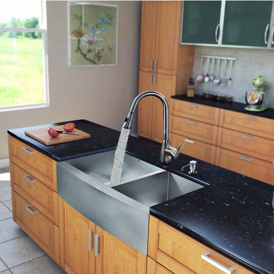 "Vigo All in One 36"" Farmhouse Stainless Steel Double Bowl Kitchen Sink and Faucet Set, VIG-VG15200"