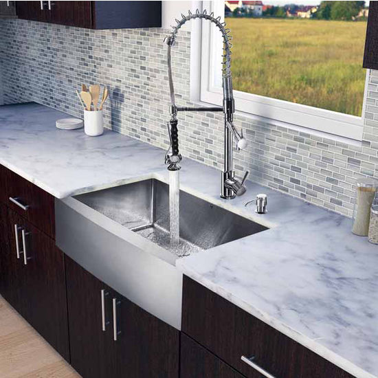 "Vigo All in One 33"" Farmhouse Stainless Steel Kitchen Sink and Chrome Faucet Set, VIG-VG15207"