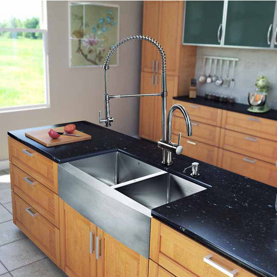 "Vigo All in One 33"" Farmhouse Stainless Steel Double Bowl Kitchen Sink and Faucet Set, VIG-VG15211"
