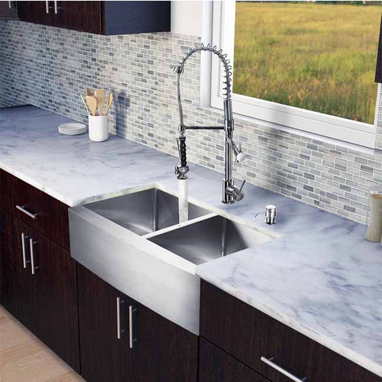 "Vigo All in One 33"" Farmhouse Stainless Steel Double Bowl Kitchen Sink and Chrome Faucet Set, VIG-VG15212"