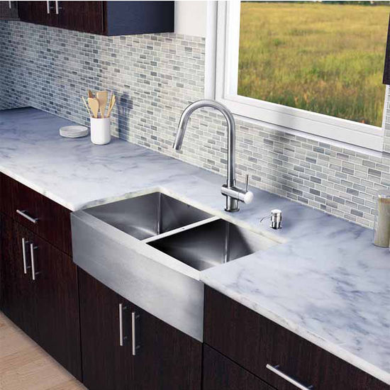 "Vigo All in One 33"" Farmhouse Stainless Steel Double Bowl Kitchen Sink and Faucet Set, VIG-VG15213"