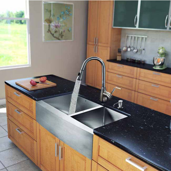 "Vigo All in One 33"" Farmhouse Stainless Steel Double Bowl Kitchen Sink and Faucet Set, VIG-VG15214"