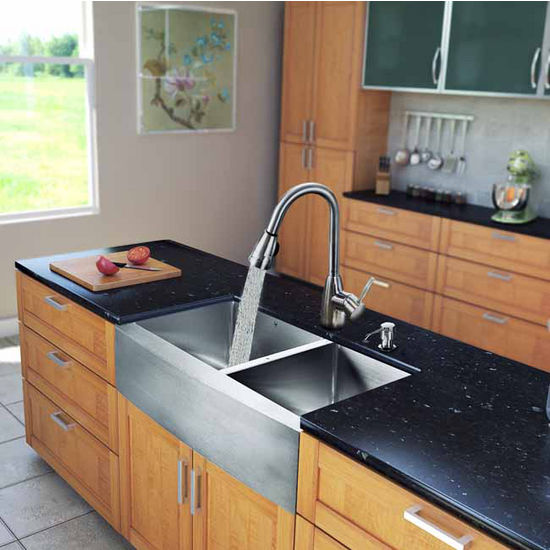 "Vigo All in One 33"" Farmhouse Stainless Steel Double Bowl Kitchen Sink and Faucet Set, VIG-VG15215"
