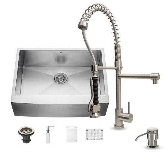 "Vigo All in One 30"" Farmhouse Stainless Steel Kitchen Sink and Faucet Set, VIG-VG15239"