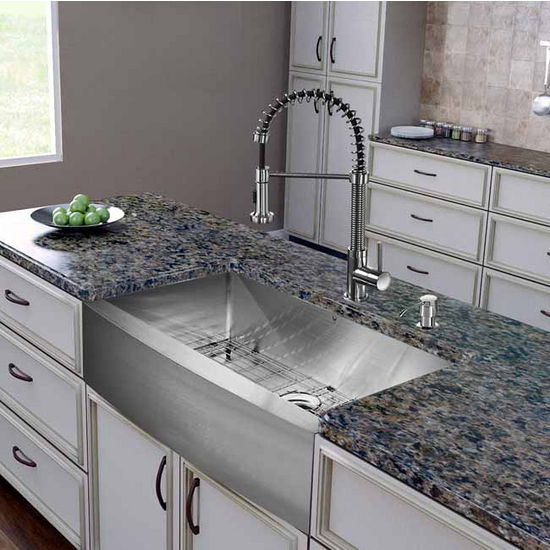 "Vigo All in One 36"" Farmhouse Stainless Steel Kitchen Sink and Faucet Set, VIG-VG15255"