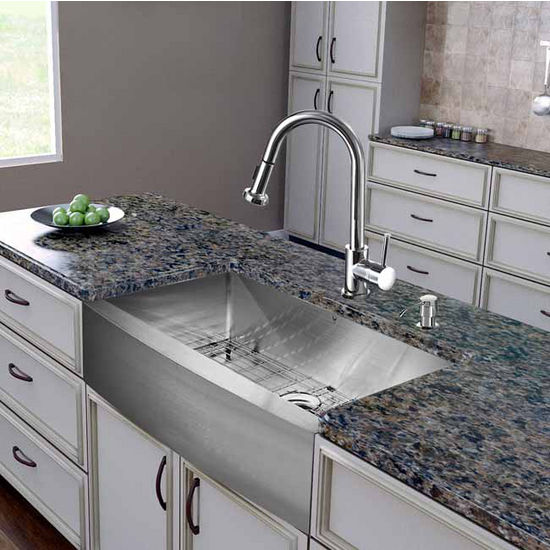 "Vigo All in One 36"" Farmhouse Stainless Steel Kitchen Sink and Chrome Faucet Set, VIG-VG15256"