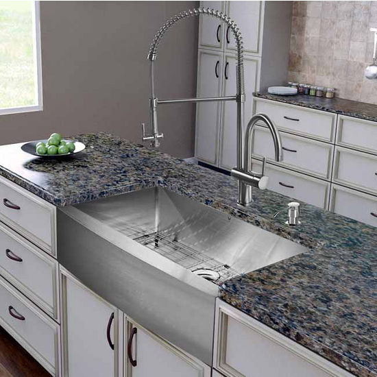 "Vigo All in One 36"" Farmhouse Stainless Steel Kitchen Sink and Faucet Set, VIG-VG15257"