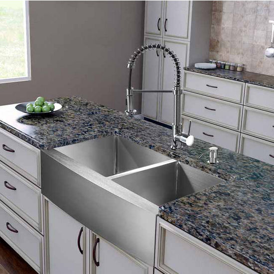 "Vigo All in One 36"" Farmhouse Stainless Steel Double Bowl Kitchen Sink and Chrome Faucet Set, VIG-VG15263"